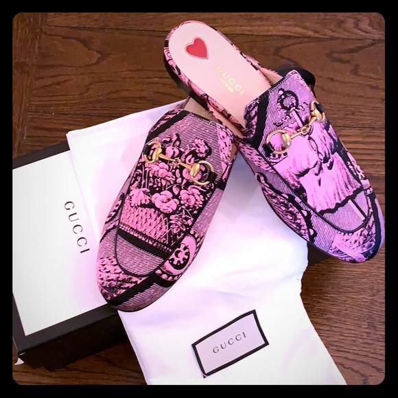 Gucci Shoes - Gucci NWT Princetown Silk Satin St. Romain Mules